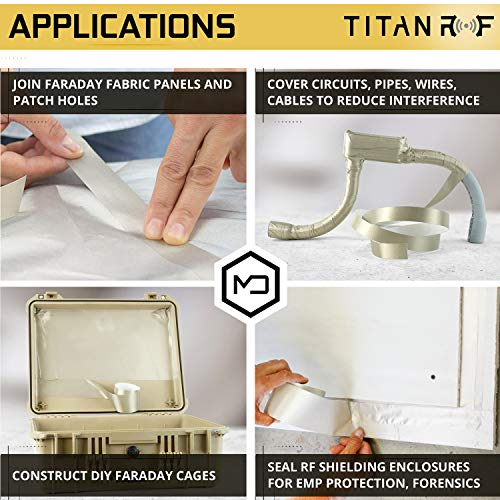 """TitanRF Faraday Tape - High-Shielding Conductive Adhesive Tape // Used to Connect TitanRF Fabric Sheets or Seal RF Enclosures (1"""" W x 120"""" L)"""