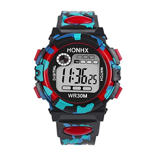 Kids Child Boy Girl Watches Multifunctional Waterproof Sports Electronic Watches by Rakkiss (Red)