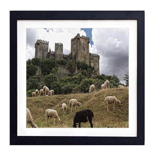 (Framed Wall Art - castle spain sheep andalusia cordoba almodovar castle the castle of almodovar - Art Print Black Wood Framed Wall Art Picture For Home Decoration - 14