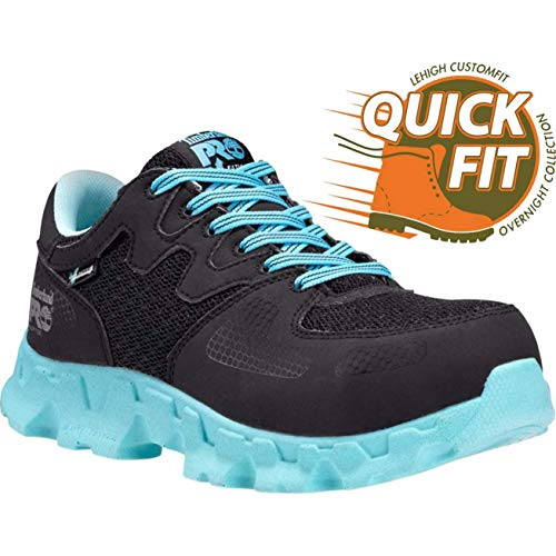 Timberland PRO Women's Powertrain Alloy Toe ESD W Industrial Shoe,Black/Blue Microfiber And Textile,9 M US by Timberland PRO