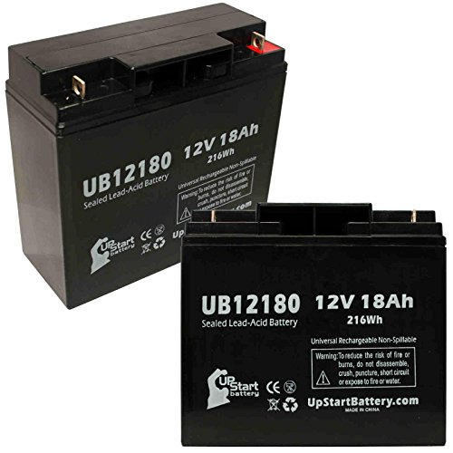 2 Pack Replacement for Pride Gogo Elite Traveler Plus Battery - Replacement UB12180 Universal Sealed Lead Acid Battery (12V, 18Ah, 18000mAh, T4 Terminal, AGM, SLA)