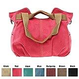 Queenie - 1 Pc Women's Medium Size Casual Cotton Canvas Tote Bag Shopping Bag Lady Handbag Shoulder Bag Beach Bag (Model K-825 Color : Red)