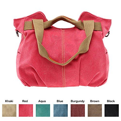 Queenie - 1 Pc Women's Medium Size Casual Cotton Canvas Tote Bag Shopping Bag Lady Handbag Shoulder Bag Beach Bag (Model K-825 Color : (Red Beach Bag)