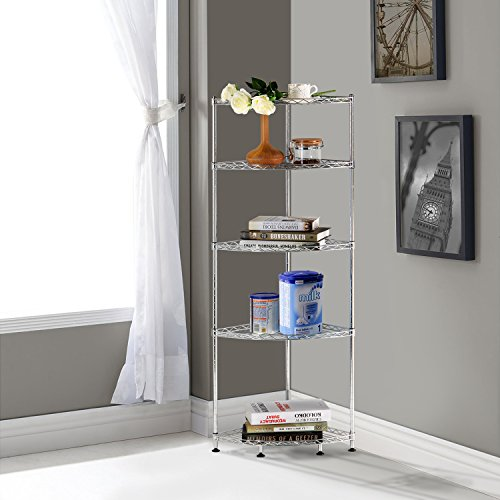Lifewit Corner Shelf 5 Tiers Adjustable Metal Storage Wire Import It All
