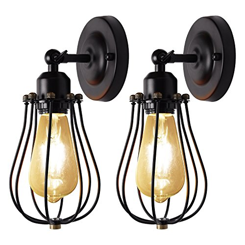 Jackyled Wall Sconces: Wire Cage Wall Sconces UL Dimmable 2-Pack JACKYLED Vintage