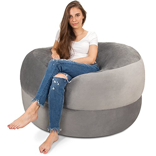 5ft Bean Bag Chair In Steel Grey Big Velour Comfort