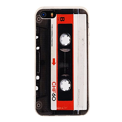 TNCY iPhone SE Case,Bumper Soft Music Cassette Tape Rubber Protective Skin Cover for iPhone 5 5s Se