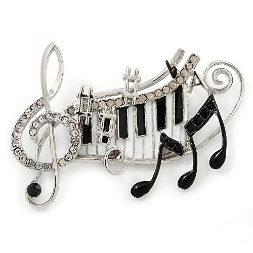 Black, White Enamel, Austrian Crystal Musical Notes Brooch In Silver Tone – 65mm L