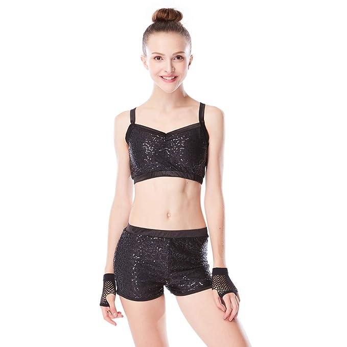 d5cf31046 Amazon.com  MiDee Sequins Costume Crop Tops   Shorts Hip Hop Pole ...