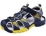 DADAWEN Boy's Girl's Summer Breathable Athletic Closed-Toe Strap Sandals (Toddler/Little Kid/Big Kid) Dark Blue US Size 5 M Big Kid
