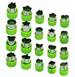 Joyoldelf 20 Pcs Vegetable Fruit Cutter Set 8 pcs Big Stainless Steel Cookie Cutters & 12 pcs Small Vegetable Cutters with Anti-Slip Protection Handle for Safely Customizing Cute Pastry (Green)