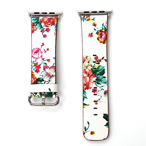 JP-DPP9 Apple Watchband Replacement Accessory, Durable Small Floral Leather Strap Replacement Watch Band for Apple iPhone Smart Watch 38mm 42mm (42mm, f) by JP-DPP9 (Image #2)