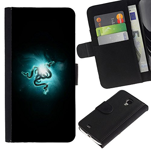 Funny Phone Case // Leather Wallet Protective Case with Slots for Money & Cards fit Samsung Galaxy S4 Mini i9190 /RAZR Snakes/