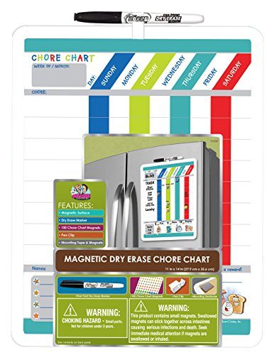 Board Dudes Magnetic Dry Erase Rewards Chore Chart with Marker and Magnets (DFB55) Chart House Column