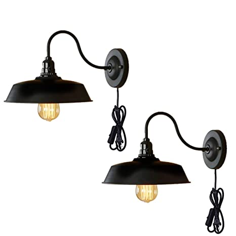 half off a906d 21e08 Wall Lamp Black Industrial Vintage Farmhouse Wall Sconce Lighting Gooseneck  Wall Light Fixtures Plug in Cord with On Off Switch E26 Base for Indoor ...