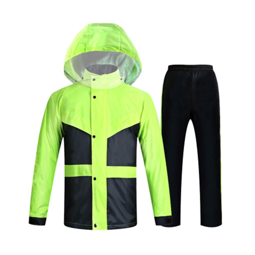 Vert Fluorescent grand HBWJSH Imperméable imperméable Costume de Pluie imperméable Scission imperméable pour Les Hommes et Les Femmes (Bleu Noir Vert Fluorescent Rouge Classique)
