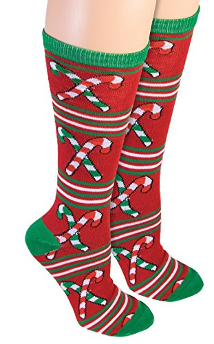 Forum Women's Ugly Christmas Candy Cane Knee Socks,