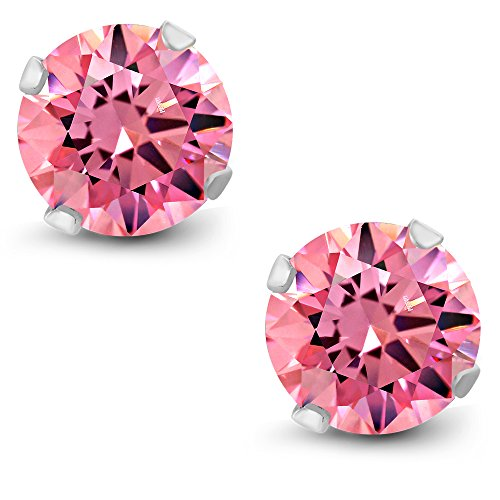 10K White Gold Fancy Pink Stud Earrings Made With Swarovski Zirconia (2.00 cttw, 6MM Round)