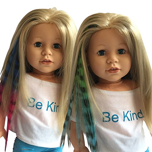 Clip In Hair Extensions Zebra Print Blue/Pink & Green/Blue for 18 inch Dolls and American Girl Dolls - Doll Wig Piece in Zebra Print Blue/Pink & Green/Blue- Hair Extensions for (New York Zebra)