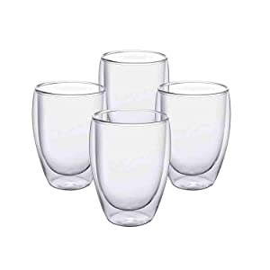 Glass Coffee Mugs 12 OZ - Set of 4, Double Wall Insulated Thermal Cups Drinking Glasses For Tea/Coffee/Latte/Cappucino/Cafe/Milk, Clear