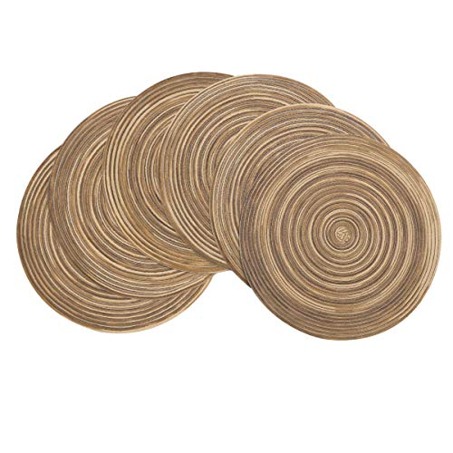 Pauwer Round Placemats Set of 6 Cotton Braided/Woven Round Placemats Washable for Kitchen Dining Table, Multi Coffee