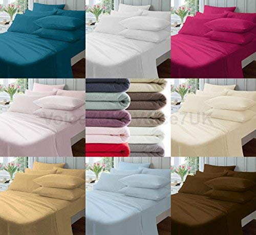 Voice7 Luxury FLANNELETTE 100% Brushed Cotton ~ Fitted Bed Sheets Thermal Plain Dyed ~ 8 Colors UK Sizes (DOUBLE, CREAM) Voice-7