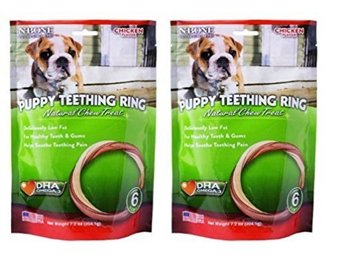 Ring Chew Dog (N-Bone Chicken Flavor Natural Puppy Teething Rings with DHA and Calcium, 6 Count Bag - Pack of 2 (7.2 Oz. Ea.))