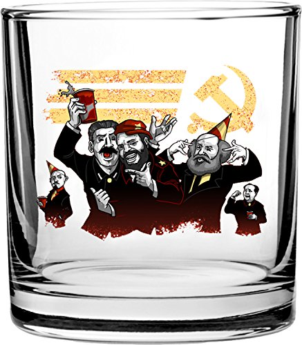 Communist Party Funny Pun Famous Communist Leaders Partying - 3D Color Printed Scotch Whiskey Glass 10.5 oz (3d Printed Glasses)