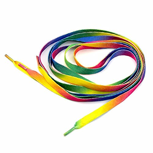 14ab63c4c7 Deas Rainbow Multicolor Flat Canvas Athletic Shoelace Sport Sneaker Shoe  Laces Boots Strings (1Pair, 2 Pcs)