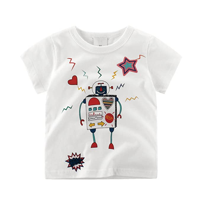 Amazon.com: Seedfuture Funny Robot T Shirts for Boys Cute Cartoon Teen Children White Tops: Clothing