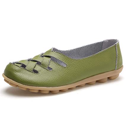 Mujer Zapatos Planos Cuero Cross Hueco Soft Único Ligero Mocasines Talón Bajo Verde Ronda Toe Slip