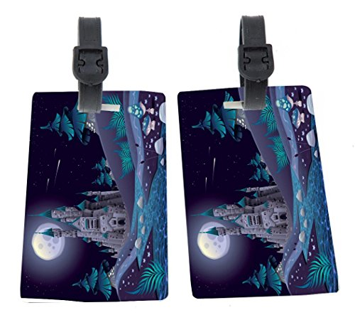 Rikki Knight Blue Castle Ivory Towers Illustration Design Premium Quality Plastic Flexi Luggage Tags with Strap Closure - Great for Travel (set of 2)