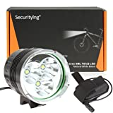 SecurityIng 1500 Lumens 3X T6 LED Bike Lamp Super Bright 4 Modes LED Bicycle Light Headlight with 8.4V 4400mAh Rechargeable Battery Pack and Charger for Outdoor Hiking, Riding, Camping