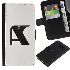 A-type (Una letra inicial Cuervo Gris Negro) Colorida Impresión Funda Cuero Monedero Caja Bolsa Cubierta Caja Piel Card Slots Para Samsung Galaxy S6