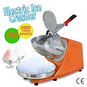 ZENY Electric Ice Shaver 300W 1400r/min w/ Stainless Steel Blade Shaved Ice Snow Cone Maker Kitchen Machine (Orange)