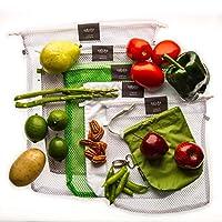 Bolsas ecológicas para frutas, verduras y semillas. / 6 piezas diferentes/Con doble jareta y costura de refuerzo. / Incluye porta xabukas VERDE. / Bolsas reutilizables.