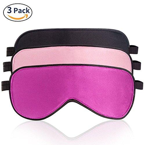 LIANSING 100% Silk Sleep Mask & Blindfold 3 Pack, Super-Smooth Sleeping Eye Mask for Women Men with Adjustable Strap, Black/Pink/Purple