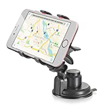 Car Phone Mount, Vena Clip-Grip 360 Degree Suction Cup Car Mount for iPhone 7/7 Plus Galaxy Note 8/S8 Moto G5, LG G6 Google Pixel/XL (Up To 90mm Wide)