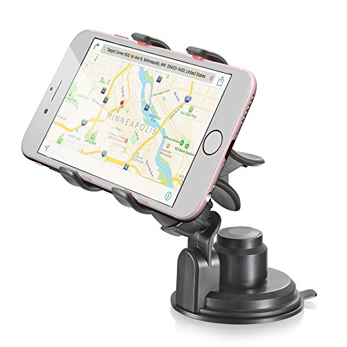 Car Mount, Vena Clip-Grip 360 Degree Strong Suction Cup Car Mount Holder for iPhone 7 Plus 6S 6 5 SE, Galaxy S8 Plus S7 S6 Edge , Moto G5 Plus, Google Pixel, LG G6 Smartphone (Up to 90mm Wide)