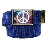 Galaxy Peace Flip Top Women's Belt Buckle with Canvas Web Belt XX-Large Navy