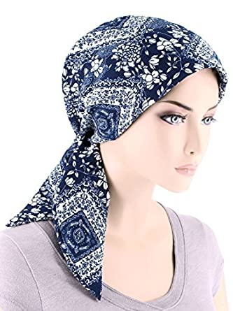 283444a6045 Chemo Fashion Scarf Easy Tie Turban Hat Headwear for Cancer Navy Blue White  Floral
