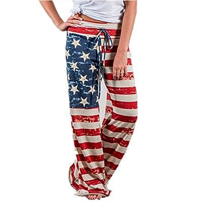 Happy GoGo Askwind Women's American Flag Drawstring Wide Leg Pants Leggings