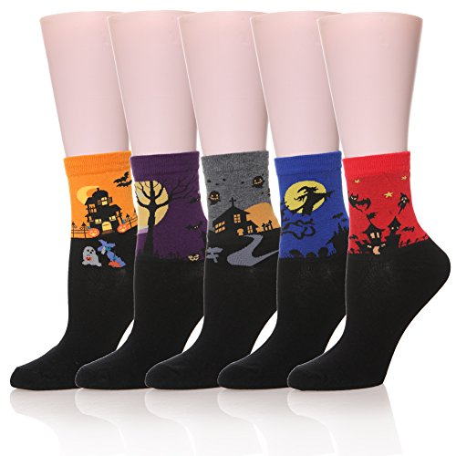 Women's Cute Funny Socks Colorful Novelty Casual Crew Animal Socks(5 Pairs Halloween -
