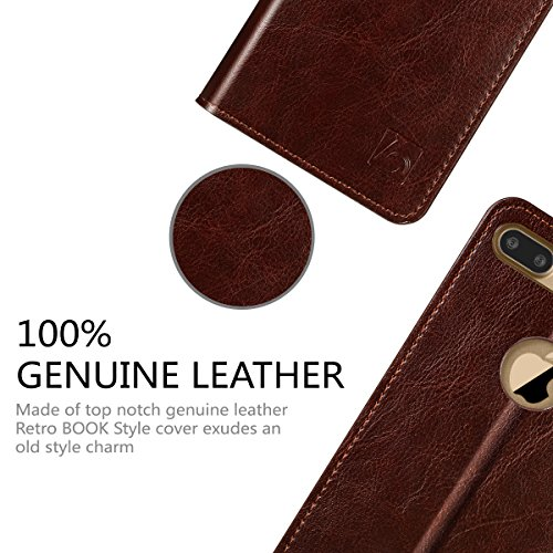 e72fe3ba863c Belemay iPhone 7 Plus Wallet Case, Genuine Cowhide Leather Flip Case [Slim  Fit] Folio Cover [Shockproof Soft TPU Inner Case] Card Holder Slots, ...