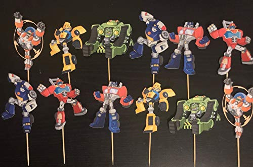 Transformers Cupcake Toppers/Transformers Inspired/Transformers Rescue Bots Inspired/Rescue Bots Cupcake Toppers/Transformers Rescue Bots Party Supplies/Prime/Bubble Bee/Transformers Birthday ()