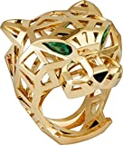 Panther 14k Yellow Gold Pear Green Emerald Eyes Black Nose Wedding Anniversary Panthere Ring for Men & Women, All US Size 5 to 24 available,Message us Your Ring Size