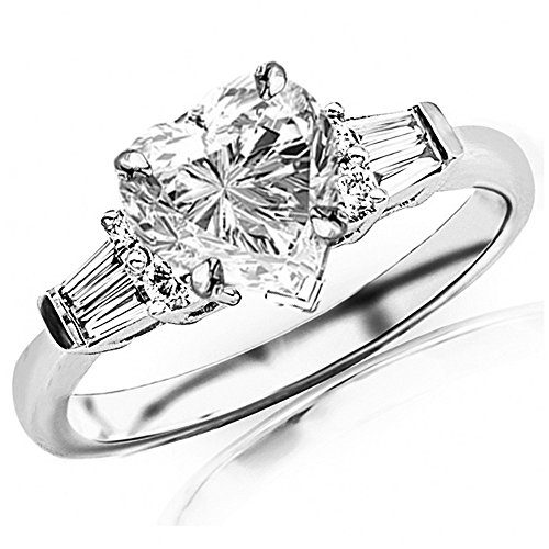 (0.85 Ctw 14K White Gold Prong Set Round And Baguette Engagement Ring w/Heart 0.5 Carat Forever One Moissanite Center)