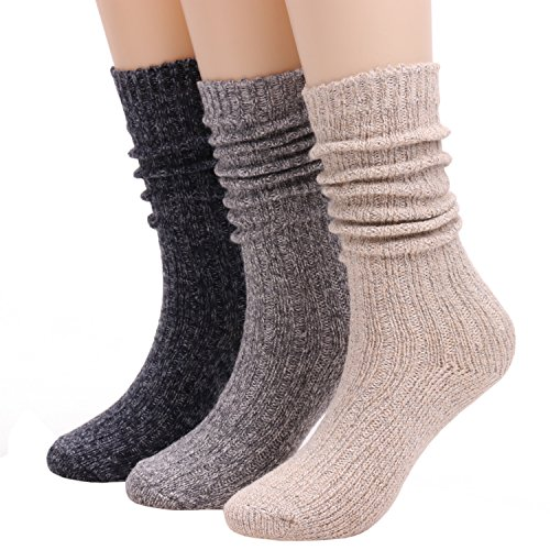 (Winter Wool Cable Knit Crew Knee High Boot Socks For Women 3 Pairs W605 (solid color))
