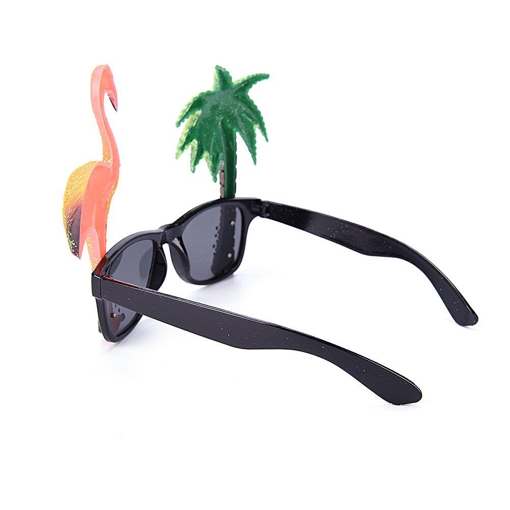 8760c40563 OFKPO Funny Sunglasses Eyewear with Novelty Flamingo and Palm Tree for Tropical  Hawaiian Hula Fancy Dress ...