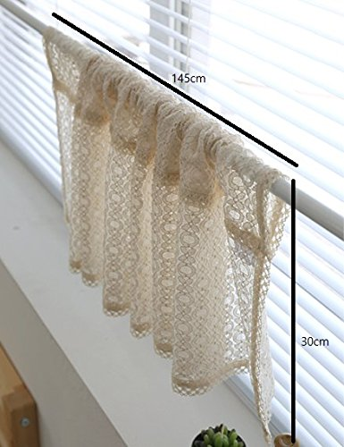 Cozymom Beige Lace Handmade Natural Cotton Cafe Curtain, Kitchen Curtain Valances, European Rural Fashion Window Curtain for Home, One Piece 30(w)x145(l)cm cozymomdeco